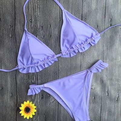Purple Ruffle Mini Bikini Wear - Kate Wardrobe