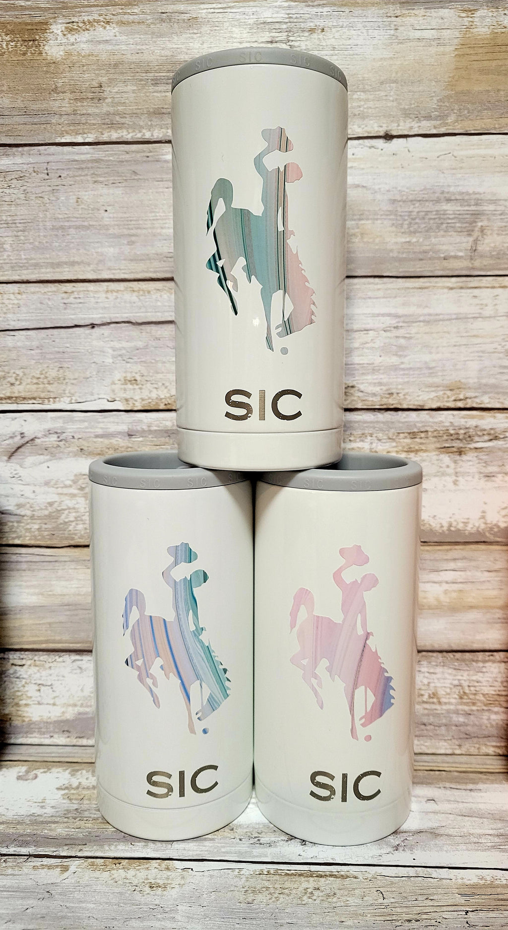 Skinny Koozie Ice White with Paster Watercolor Wyoming Steamboat