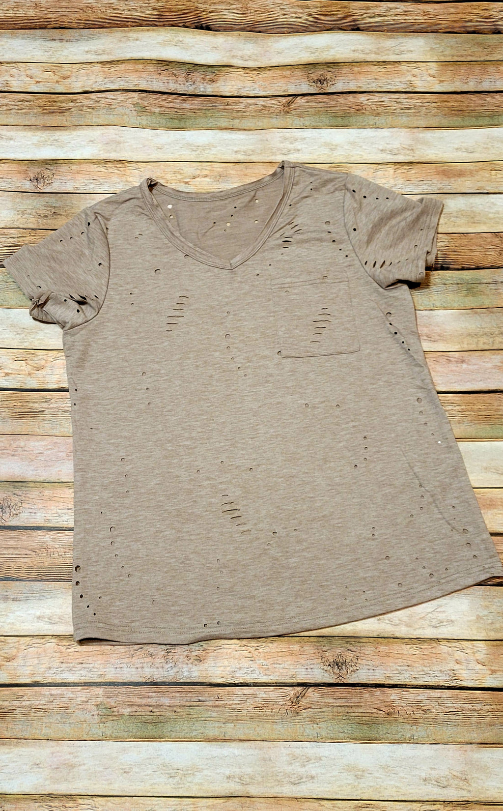 Oatmeal Distressed Pocket Tee