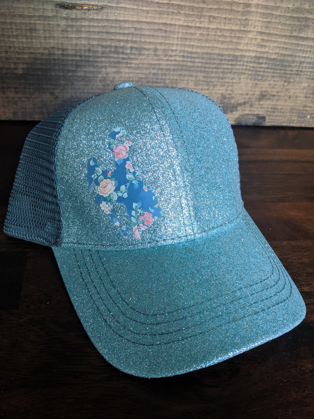 Kids high pony hat with floral Wyoming Steamboat