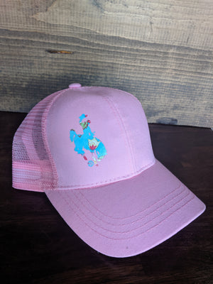 Pink floral Wyoming Steamboat high pony hat