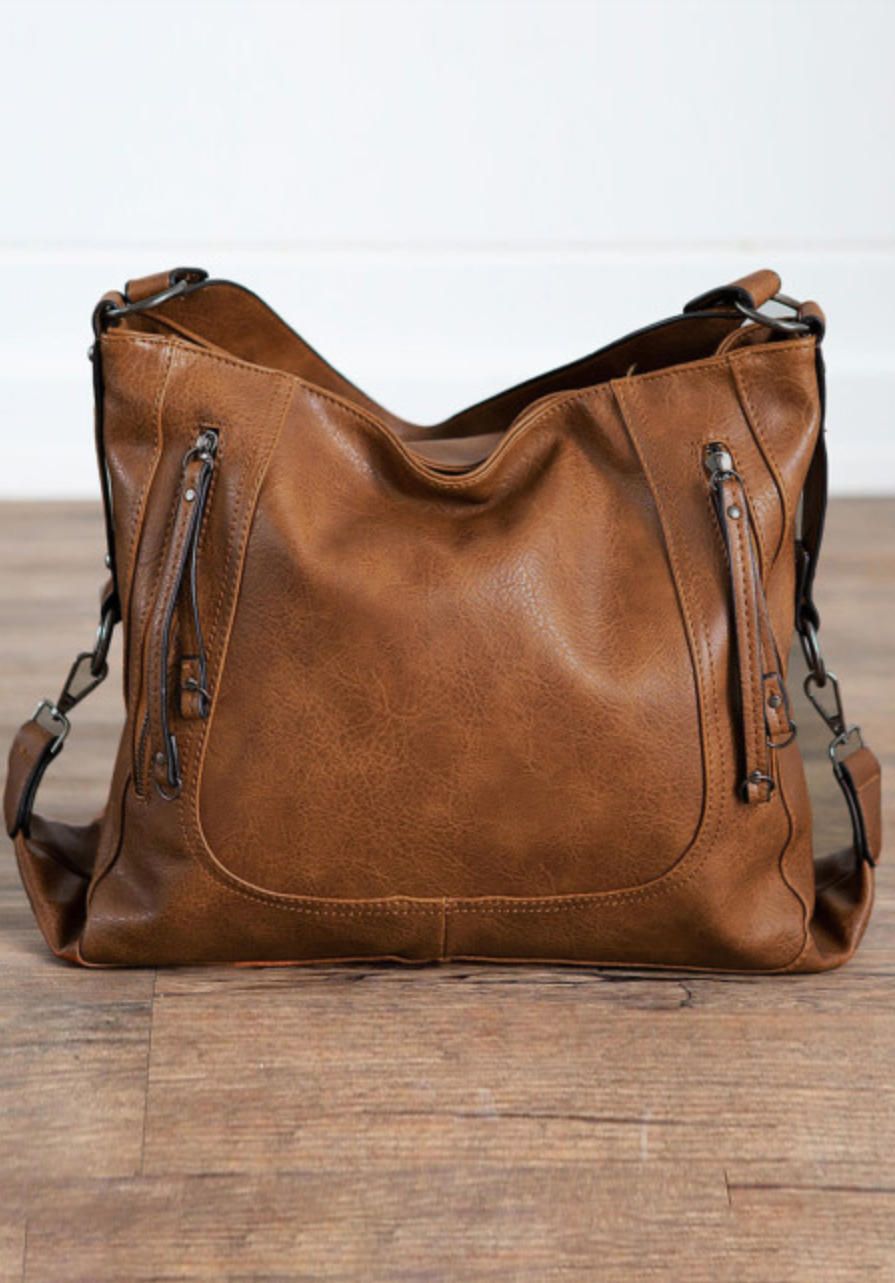 Brown vegan leather boho bag