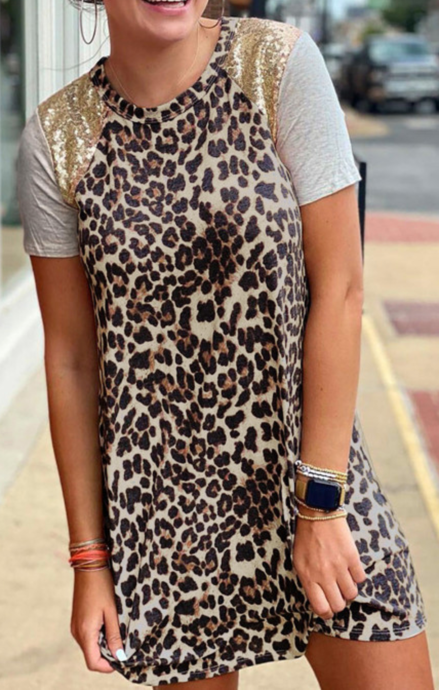 Leopard Sequin Spliced Tee Shirt Dress