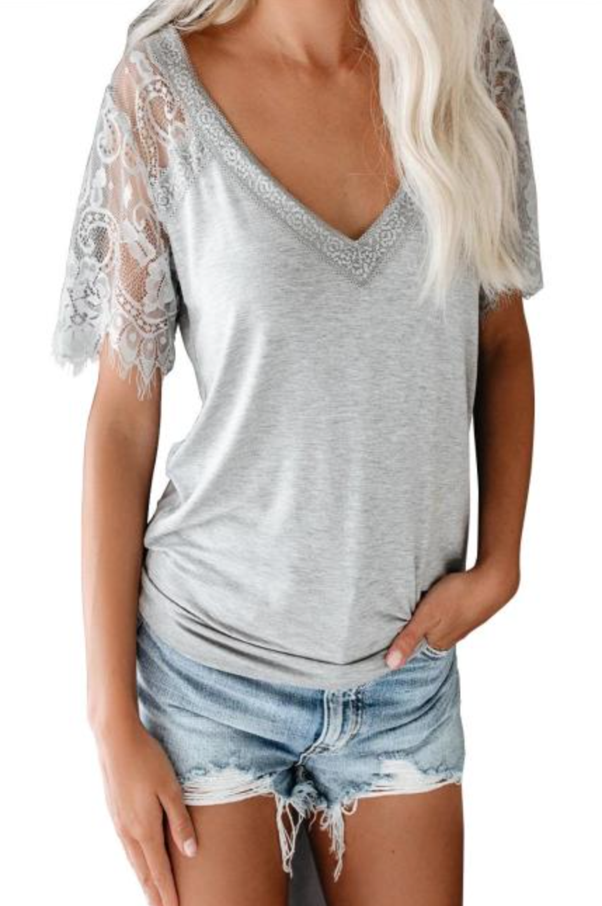 Gray Lace Sleeve Tee