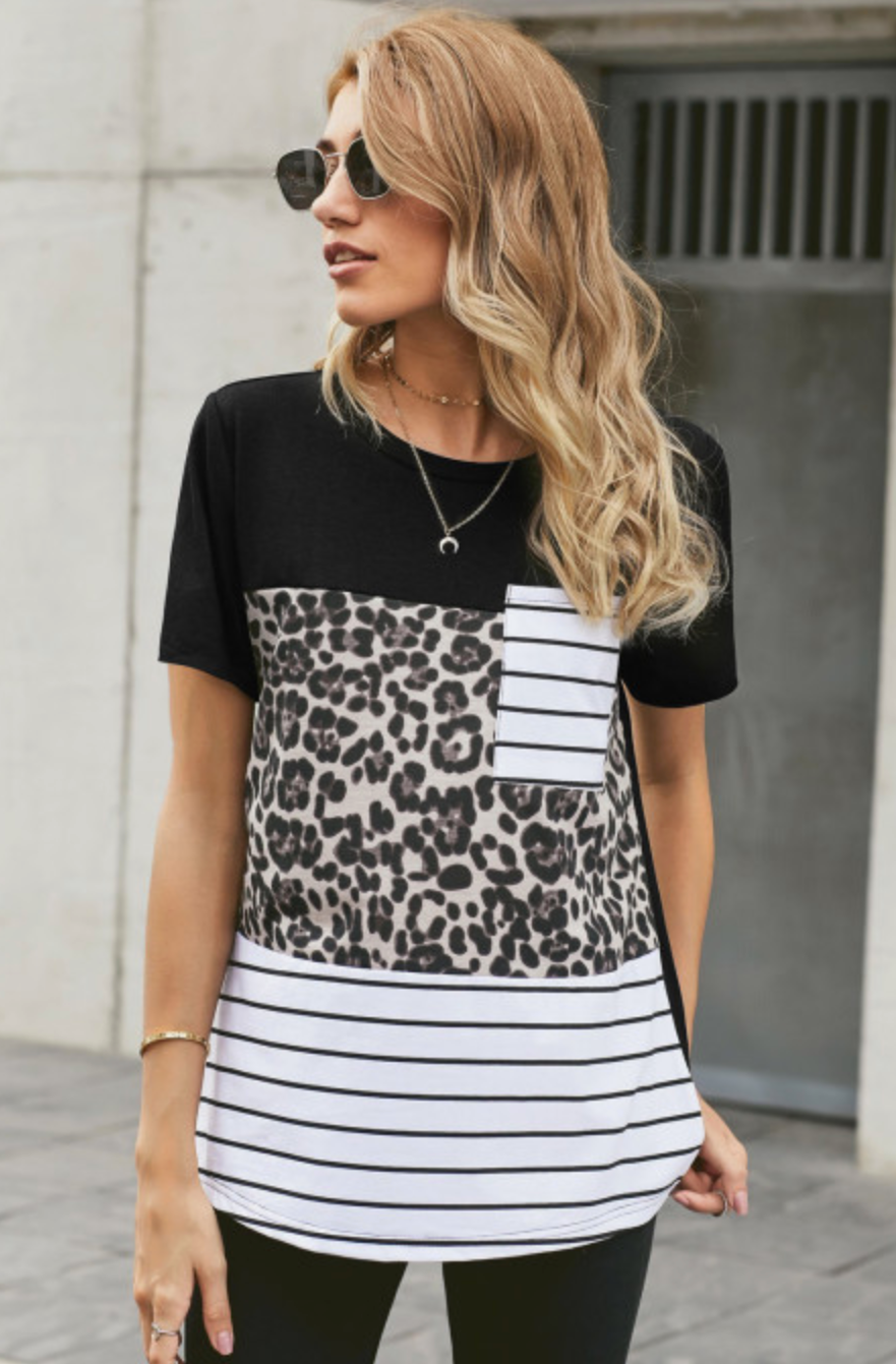 Leopard Stripped Pocket Tee