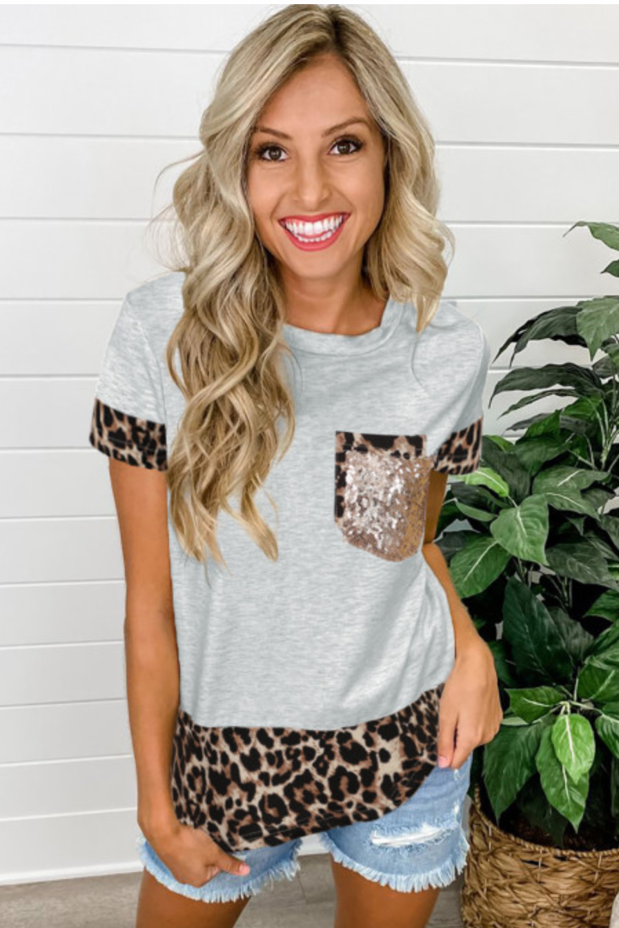 Gray Leopard Gold Pocket Tee