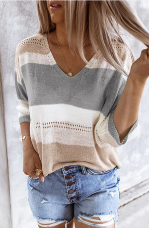 Gray and Tan Knit Top