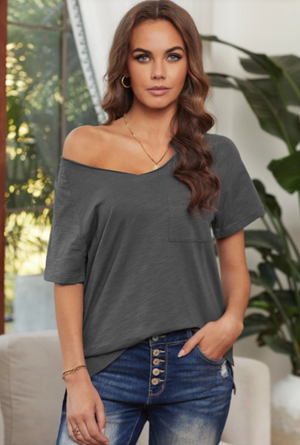 Gray Pocket V Neck Tee