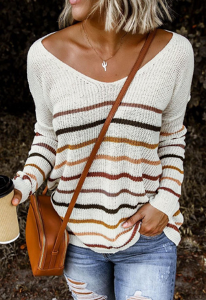 Multi Color Stripe Knit Sweater