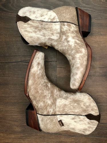 Hair-On Cowhide Short Cowhide Boots: Size 7