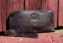 Load image into Gallery viewer, Floral Tooled Leather Clutch