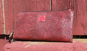 Floral Tooled Leather Clutch