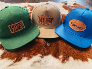 Youth Leather Patch Hats