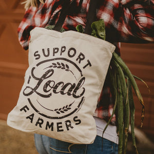 Support Local Farmers Reusable Canvas Tote