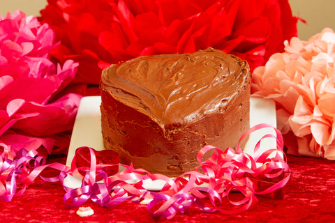 Heart Shaped Double Chocolate Cake w or with out strawberries