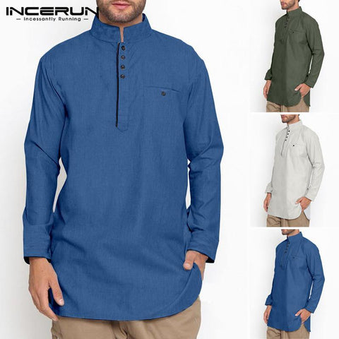 Button Stand Collar Shirt (INCERUN)