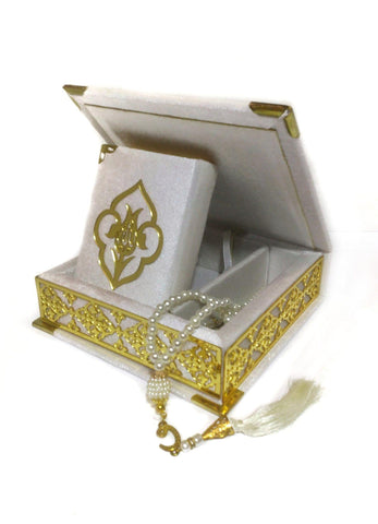 Velvet Qur'an with Box & Glass Tasbih