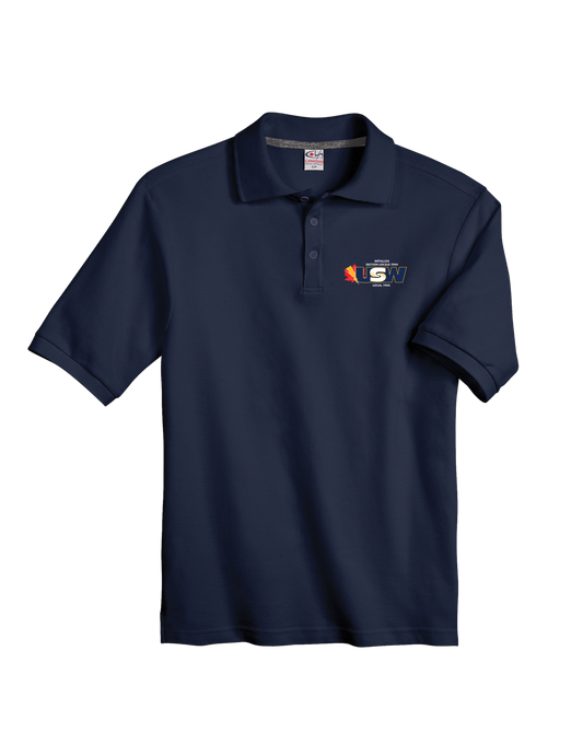 Men's/Unisex Navy Cotton Piqué Polo Shirt with USW 1944 colour logo
