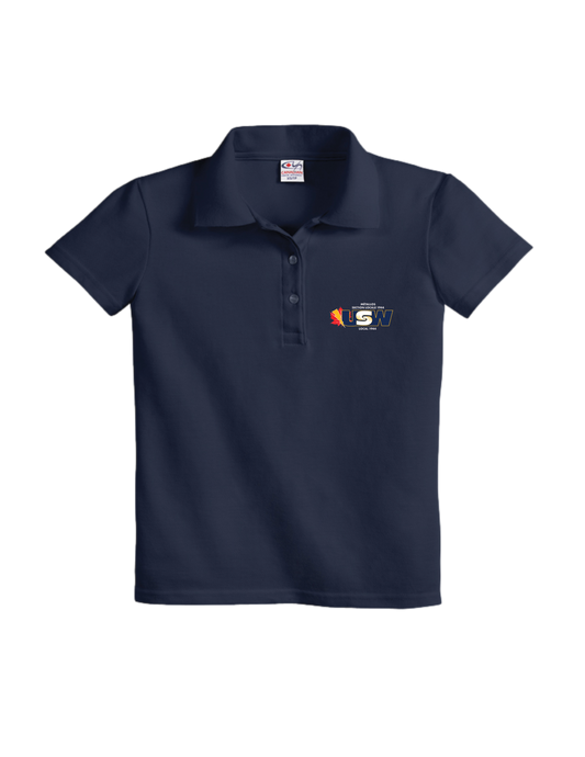 Women's Navy Cotton Piqué Polo Shirt with USW 1944 colour logo