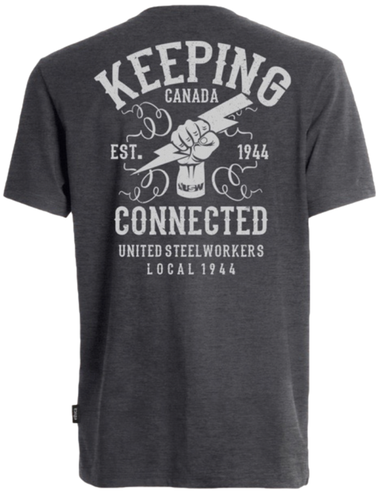 Men's/Unisex Keeping Canada Connected Grey T-shirt