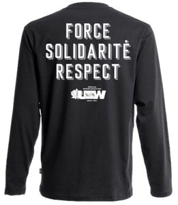 "Black Long Sleeves Fist ""Force, Solidarité, Respect"""