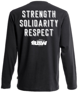 "Black Long Sleeves Fist ""Strength, Solidarity, Respect"""