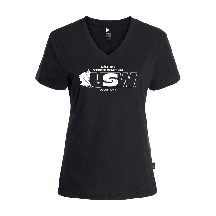 Women's Black T-shirt USW1944 White Logo