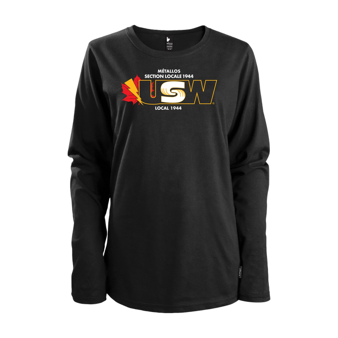 Women's Black Long Sleeves T-shirt with Colour Logo