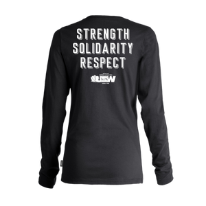 "Women's Black Long Sleeves T-shirt Fist ""Strength, Solidarity, Respect"""