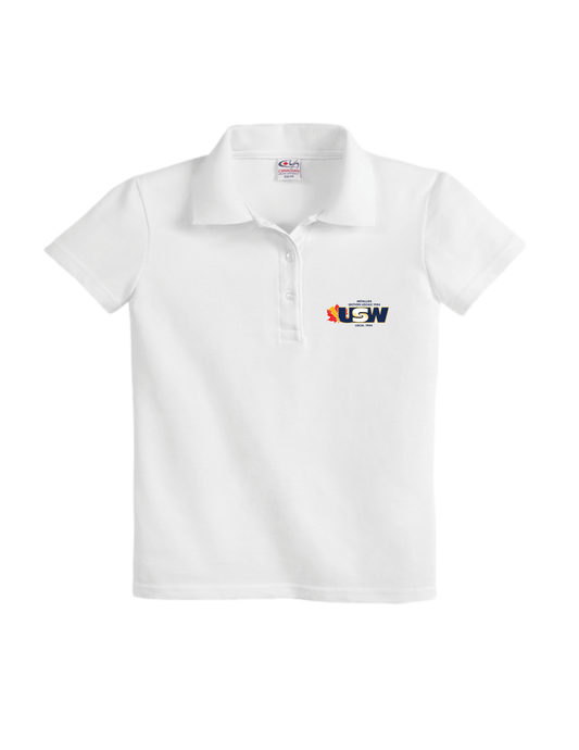 Women's White Cotton Piqué Polo Shirt with USW 1944 colour logo