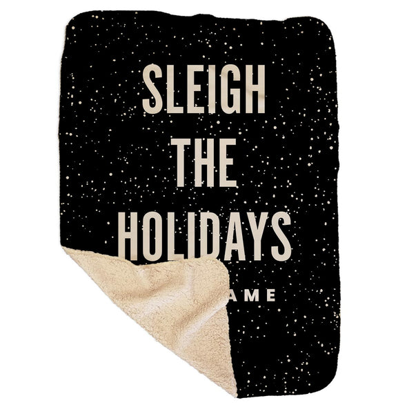 Personalized Sleigh the Holidays Black Sherpa Blanket