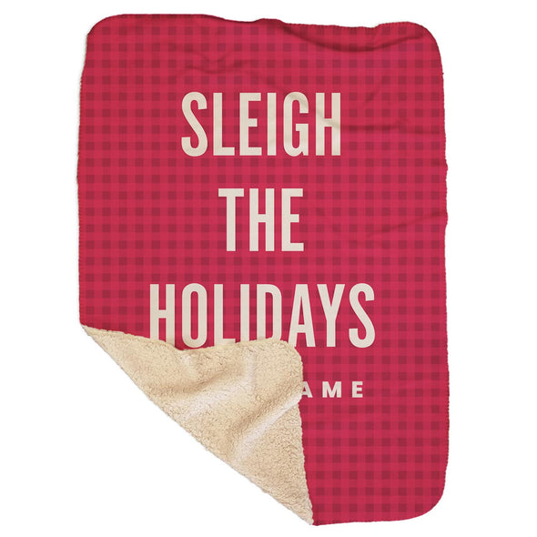 Personalized Sleigh the Holidays Red Sherpa Blanket