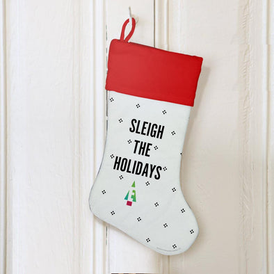 Sleigh the Holidays White Stocking