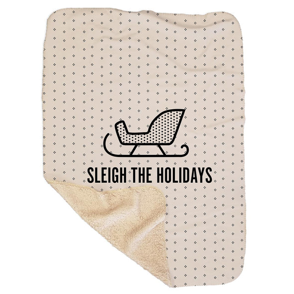 Sleigh the Holidays White Sherpa Blanket