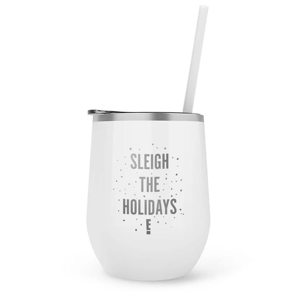Sleigh the Holidays 12 oz Stainless Steel Wine Tumbler with Straw