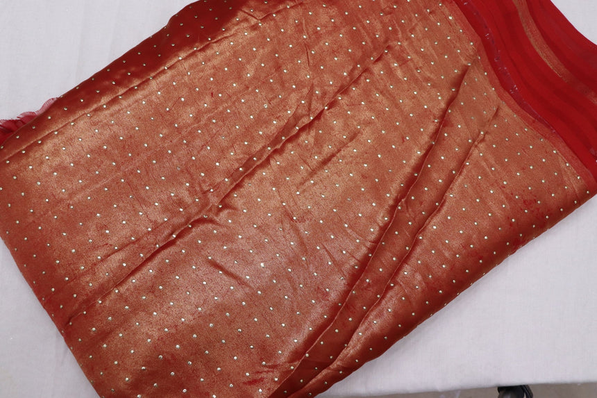 Pasted Mukaish On Semi Georgette Fabric