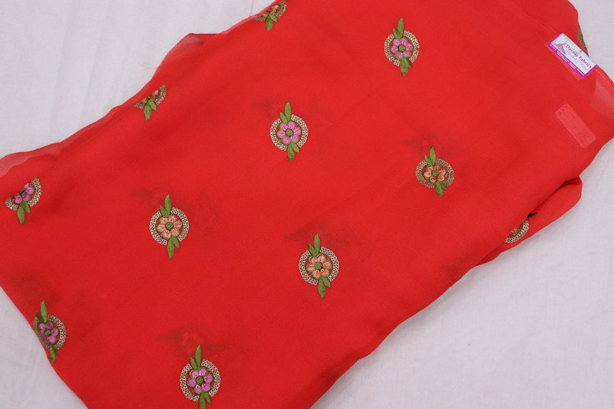 Embroidered Chinon Fabric In SALE