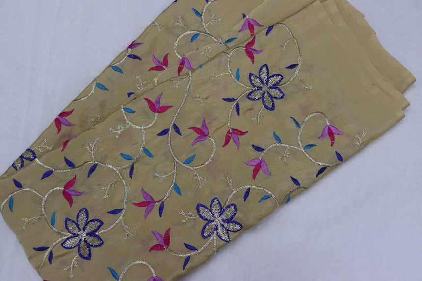 Embroidered Chinon Fabric (1.80 Meter Cut Piece)