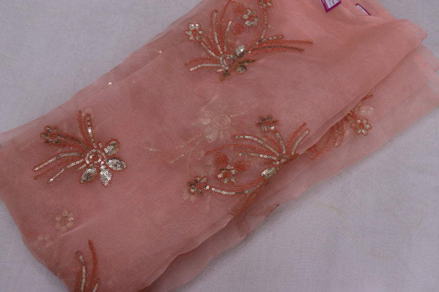 Embroidered Tissue & Organza Fabric (1.95 Meter Cut Piece)