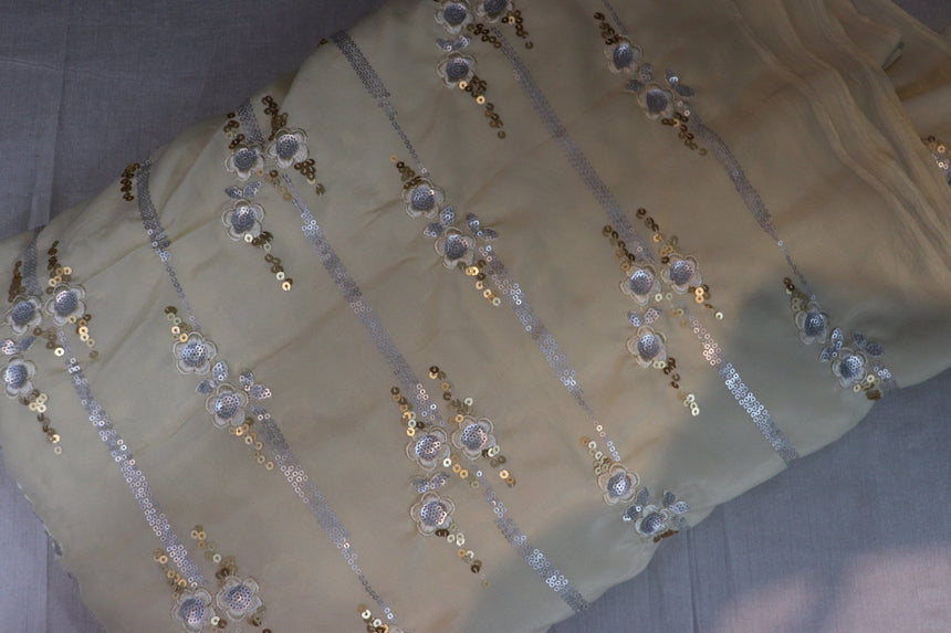 Gold & Silver Sequin Embroidery On Light Yellow Color Icon Silk Fabric