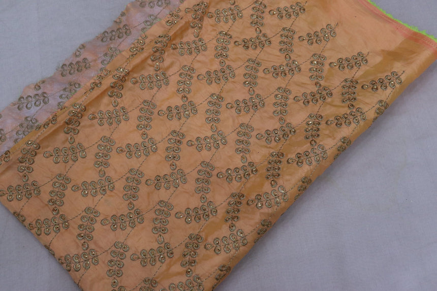Embroidered Silk Fabric (1.25 Meter Cut Piece)