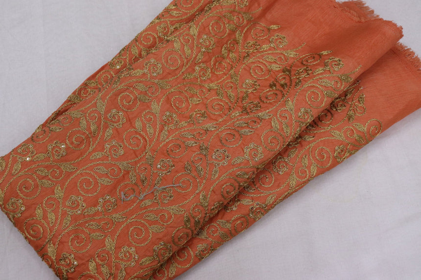 Embroidered Silk Fabric (1.90 Meter Cut Piece)