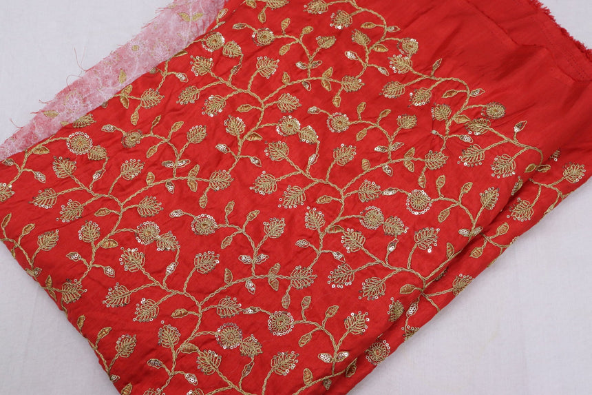 Embroidered Silk Fabric (1.60 Meter Cut Piece)