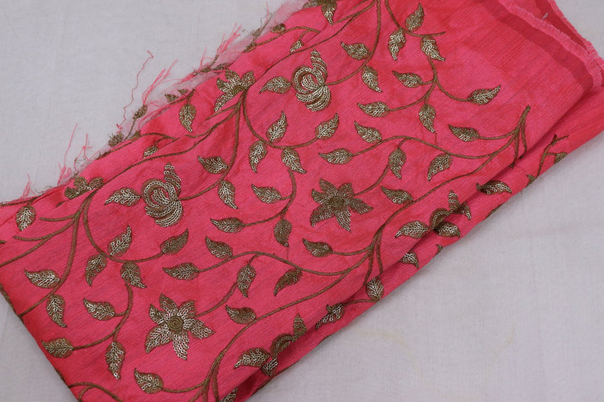 Embroidered Silk Fabric (0.90 Meter Cut Piece)