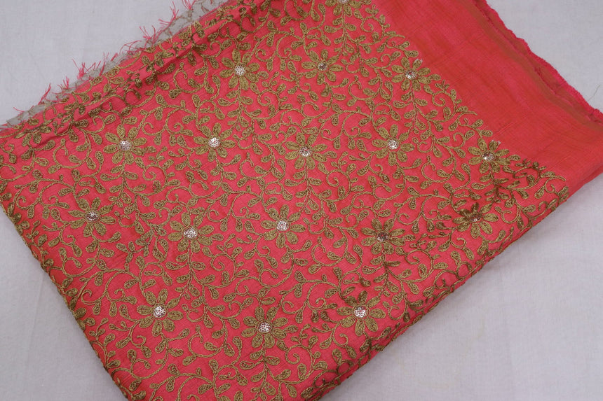 Embroidered Silk Fabric (1.65 Meter Cut Piece)
