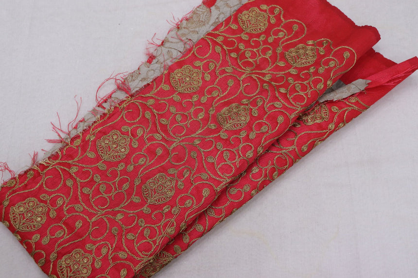 Embroidered Silk Fabric (0.75 Meter Cut Piece)