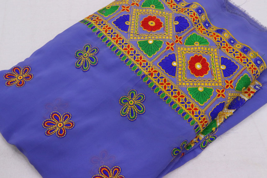 Embroidered Semi Georgette Fabric