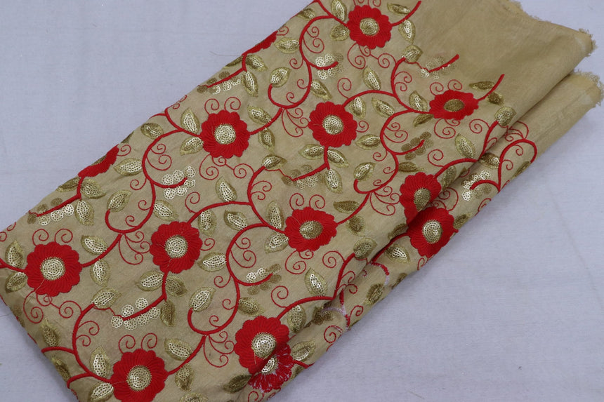 Embroidered Silk Fabric (1.85 Meter Cut Piece)