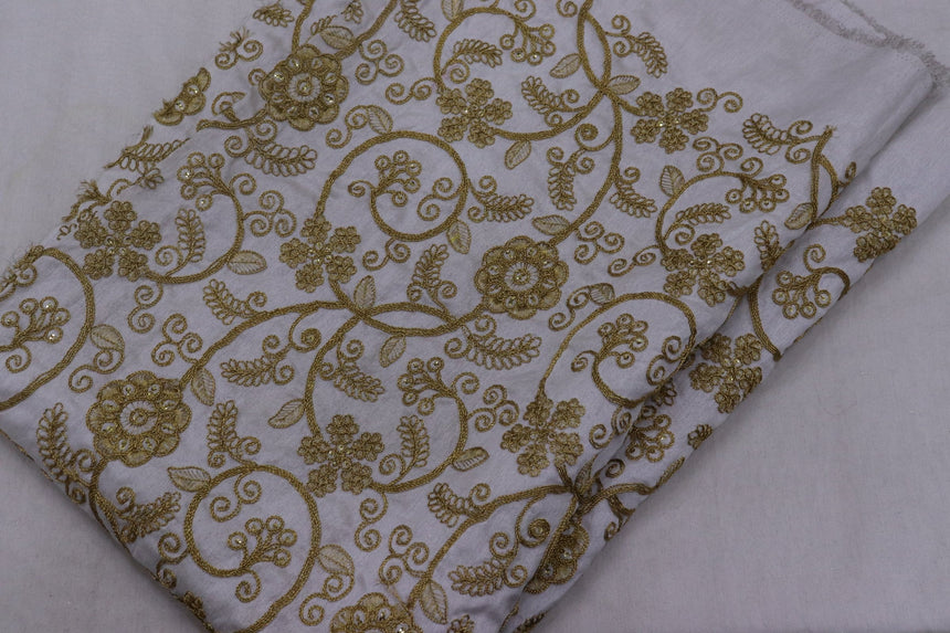 Embroidered Silk Fabric (1.45 Meter Cut Piece)