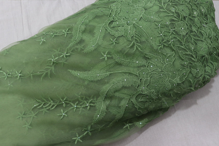 Embroidery on Pastel Green  Colour Net Fabric